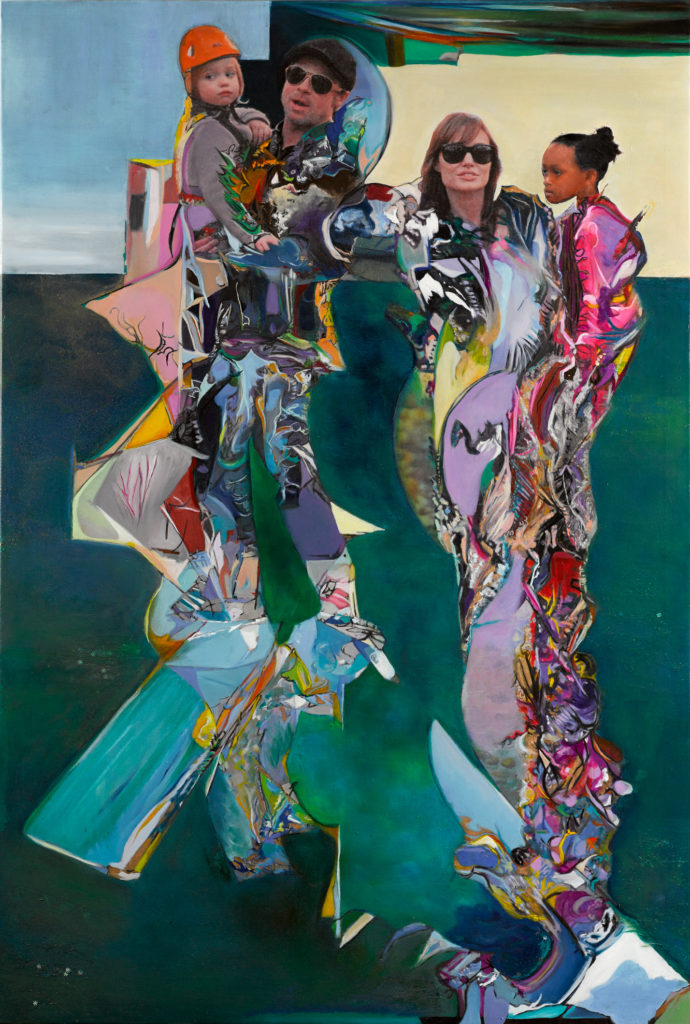 Degard 2015-6, Brad and Angelina AP, 120cm x 79.8cm, oil on canvas, silver leaf